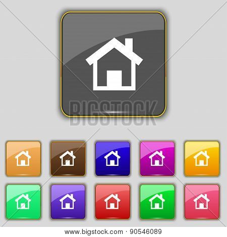 Home, Main Page Icon Sign. Set With Eleven Colored Buttons For Your Site. Vector