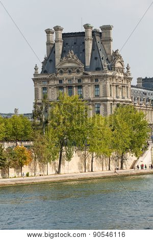 The Louvre and the Seine River in Paris