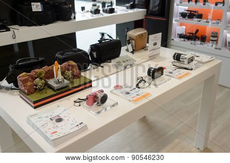 HONG KONG, CHINA - FEBRUARY 04, 2015: Sony store interior. Sony Corporation, commonly referred to as Sony, is a Japanese multinational conglomerate corporation headquartered in Tokyo, Japan