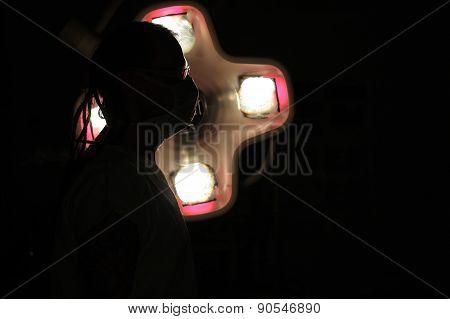 Silhouette Of  Male Nurse Icu  With  Dreadlocks