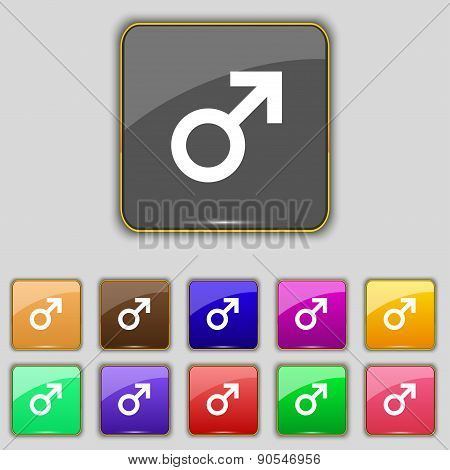 Male Sex Icon Sign. Set With Eleven Colored Buttons For Your Site. Vector