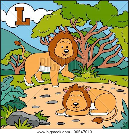Color Alphabet For Children: Letter L (lion)