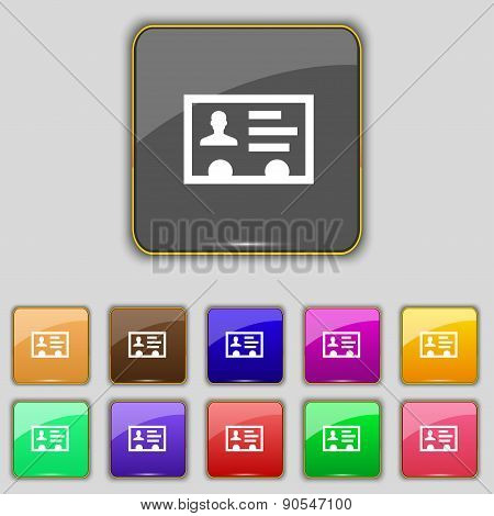 Id Card, Identity Card Badge, Cutaway, Business Card Icon Sign. Set With Eleven Colored Buttons For