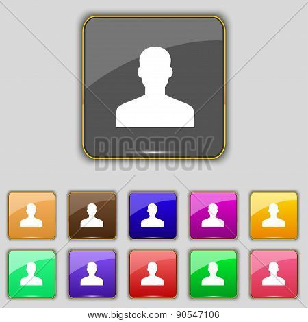User, Person, Log In Icon Sign. Set With Eleven Colored Buttons For Your Site. Vector
