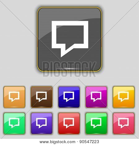Speech Bubble, Think Cloud Icon Sign. Set With Eleven Colored Buttons For Your Site. Vector