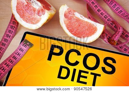Tablet with PCOS diet.