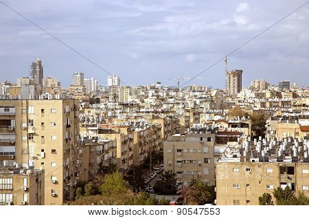 View on the rooftops of houses in Bat Yam, Israel