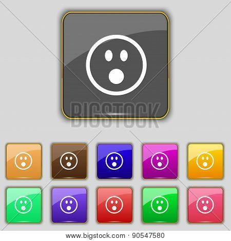 Shocked Face Smiley Icon Sign. Set With Eleven Colored Buttons For Your Site. Vector