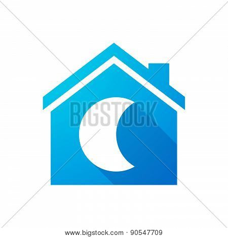 Blue House Icon With A Moon