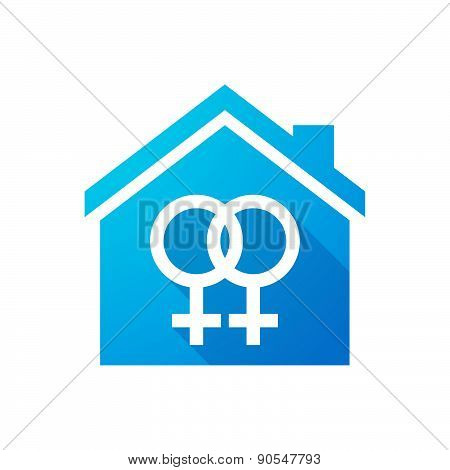 Blue House Icon With A Gay Sign