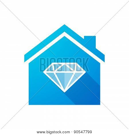 Blue House Icon With A Diamond