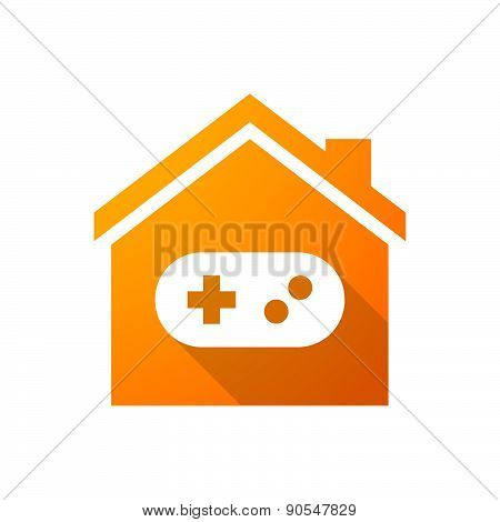 Orange House Icon With A Game Pad
