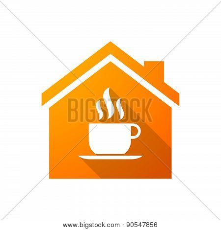 Orange House Icon With A Coffee Cup