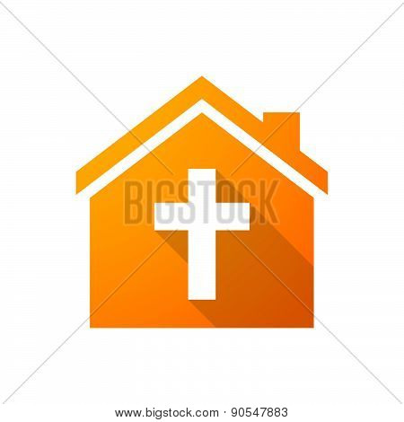 Orange House Icon With A Cross