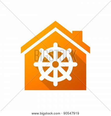 Orange House Icon With A Dharma Chakra Sign