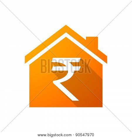 Orange House Icon With A Rupee Sign