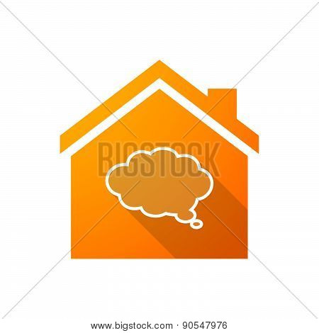Orange House Icon With A Cloud Comic Balloon