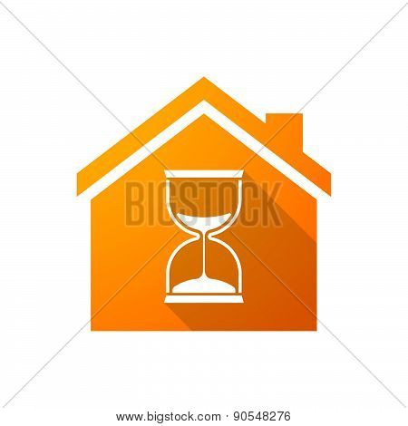 Orange House Icon With A Sand Clock