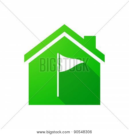 Green House Icon With A Golf Flag