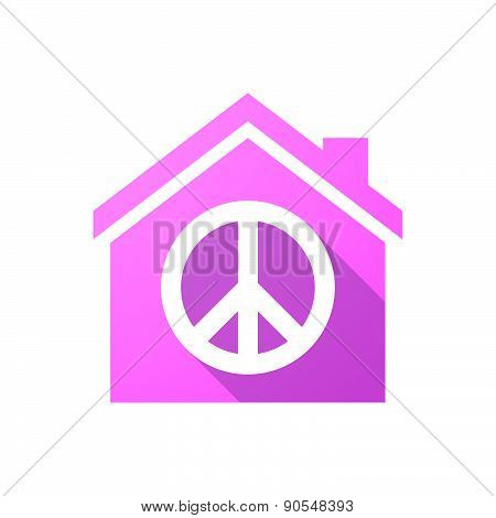 Pink House Icon With A Peace Sign