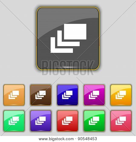 Layers Icon Sign. Set With Eleven Colored Buttons For Your Site. Vector