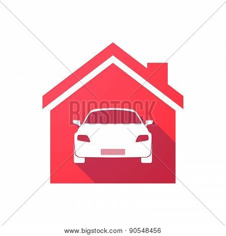 Red House Icon With A Car