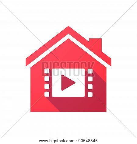 Red House Icon With A Multimedia Sign