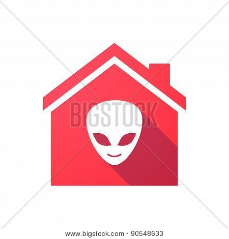 Red House Icon With An Alien Face