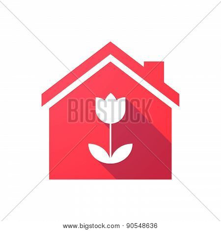 Red House Icon With A Tulip