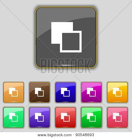 Active Color Toolbar Icon Sign. Set With Eleven Colored Buttons For Your Site. Vector