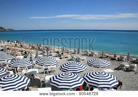 Beach and ocean of Nice