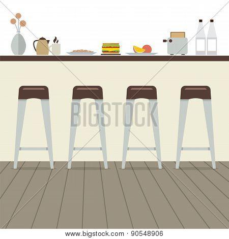 Modern Flat Design Kitchen Interior.