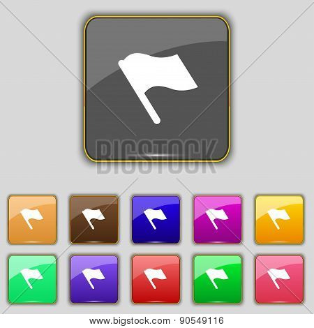 Finish, Start Flag Icon Sign. Set With Eleven Colored Buttons For Your Site. Vector