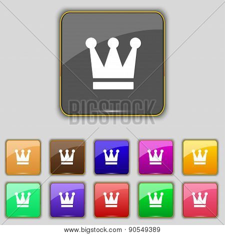 King, Crown Icon Sign. Set With Eleven Colored Buttons For Your Site. Vector