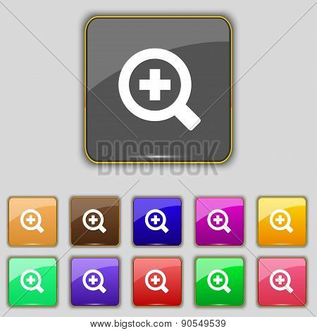 Magnifier Glass, Zoom Tool Icon Sign. Set With Eleven Colored Buttons For Your Site. Vector