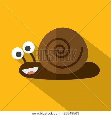 Modern Flat Design Snail Icon.