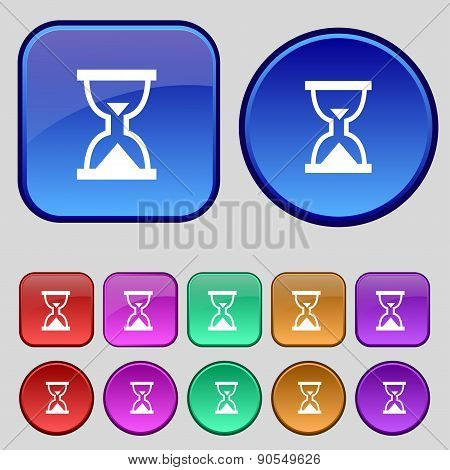 Hourglass, Sand Timer Icon Sign. A Set Of Twelve Vintage Buttons For Your Design. Vector