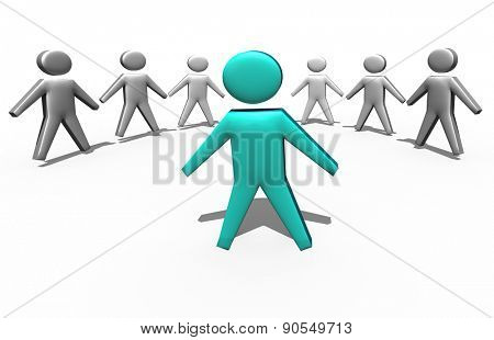 team leader in the crowd business concept 3d illustration