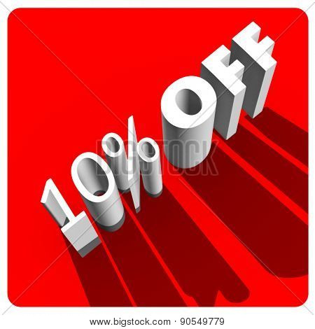 10 percent off white 3d letters on red background