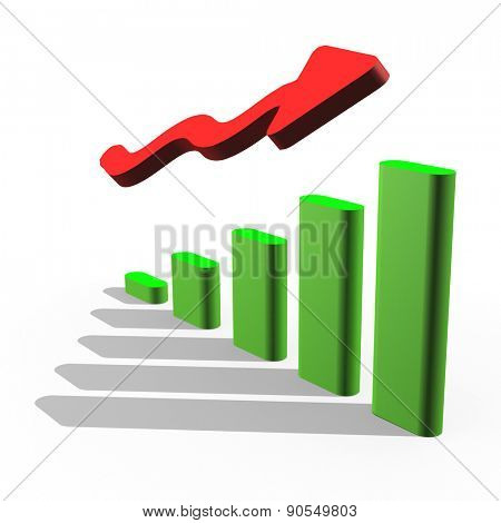 growing chart with the arrow going up