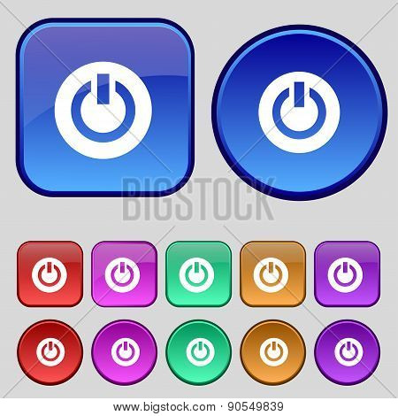 Power,  Switch On, Turn On  Icon Sign. A Set Of Twelve Vintage Buttons For Your Design. Vector