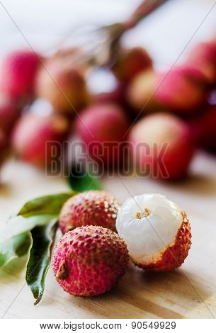 Lychee Fruit On A Wooden Board