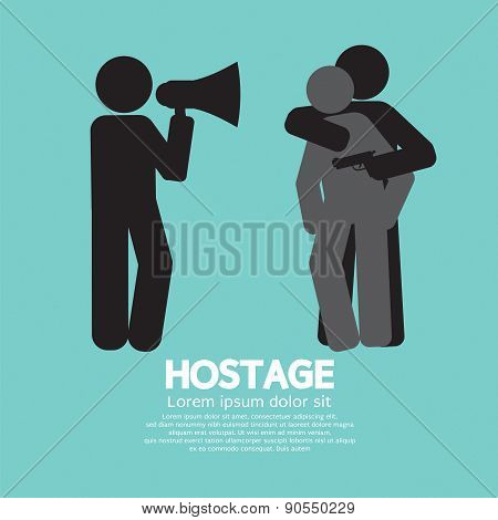 Robbery, Hostage And Policeman Graphic Symbol.