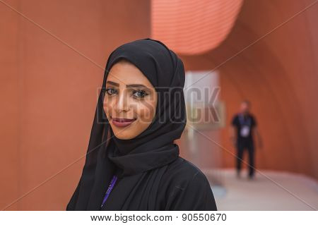 Beautfuiful Girl Working For United Arab Emirates Pavilion At Expo 2015 In Milan, Italy