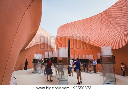 People Visiting United Arab Emirates Pavilion At Expo 2015 In Milan, Italy