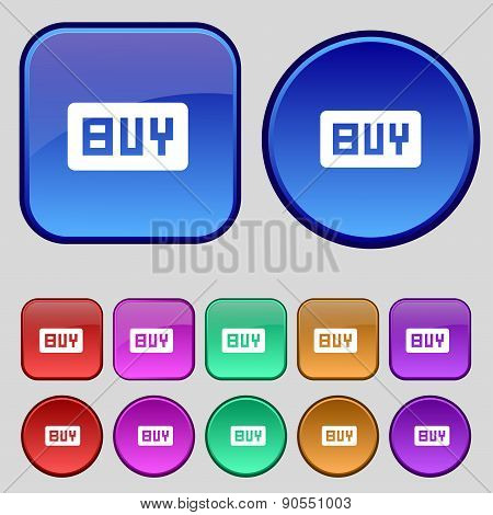 Buy, Online Buying Dollar Usd  Icon Sign. A Set Of Twelve Vintage Buttons For Your Design. Vector