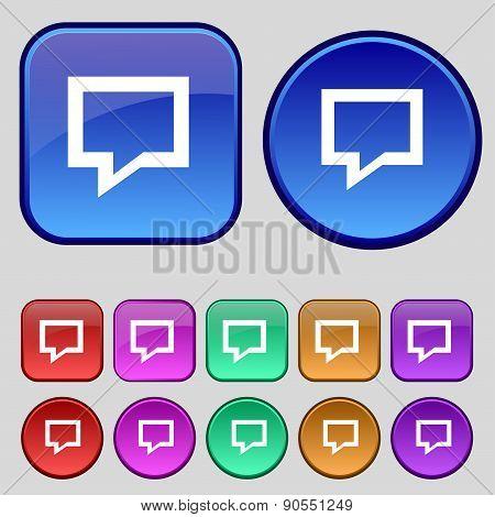 Speech Bubble, Think Cloud Icon Sign. A Set Of Twelve Vintage Buttons For Your Design. Vector