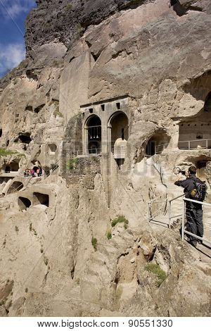 VARDZIA, GEORGIA - MAY 06, 2015: Vardzia cave city-monastery. Vardzia was excavated in the Erusheti Mountain in the 12th century and is one of the main attractions of Georgia.