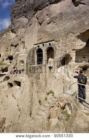 VARDZIA, GEORGIA - MAY 06, 2015: Vardzia cave city-monastery. Vardzia was excavated in the Erusheti Mountain in the 12th century and is one of the main attractions of Georgia.
