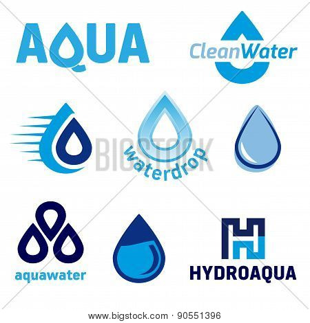 Set Of Graphic Elements With The Water Theme